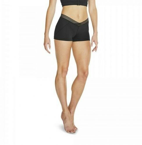 BLOCH Ladies Dance Stripe Elastic Waist Micro Shorts V Front Waistband Black